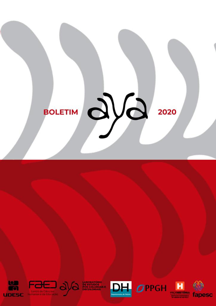 Capa do Boletim do AYA do ano de 2020. Parte superior branca, e inferior vermelha, com marca d'água da logo do aya ao fundo. As logos na parte inferior aparecem nessa ordem: UDESC, FAED, AYA, DH, PPGH, ProfHistória, FAPESC.